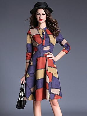סתיו כותנה / פוליאסטר צבעוני אורך שרוול ¾ עד הברך צווארון עגול פסים / טלאים סגנון רחוב יום יומי\קז'ואל שמלה גזרת A נשים,גיזרה גבוהה