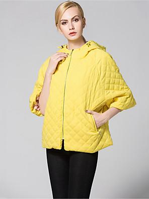 אחיד עם קפוצ'ון סגנון רחוב ליציאה ז'קט נשים,צהוב אורך חצי שרוול חורף עבה כותנה / פוליאסטר