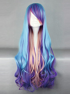 Lolita Wigs Punk Lolita Zářící barvy Dlouhé Fialová / Růžová / Modrá Lolita Paruky 80 CM Cosplay Paruky Patchwork Paruka Pro Dámské