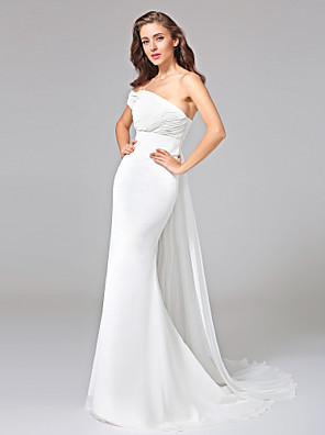 Lanting Bride® Trumpet / Mermaid Wedding Dress - Classic & Timeless Open Back Watteau Train One Shoulder Chiffon with Criss-Cross / Ruche
