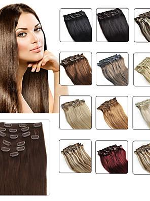 """klip i menneskelige hår extensions 20 """"-24"""" hvid blonde (# 60) 8pcs / sæt"""