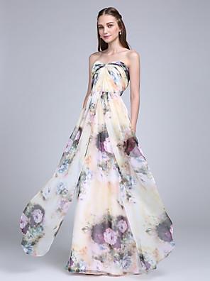 Lanting Bride® Longo Chiffon Vestido de Madrinha - Tubinho Coração com Cruzado / Franzido