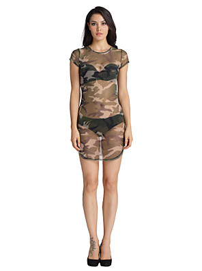 Women's Casual/Daily / Party/Cocktail Sexy Shift / Tunic Dress,Camouflage Crew Neck Above Knee Short Sleeve Green Polyester All Seasons