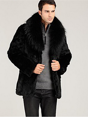Men's Going out Vintage / Street chic Fur Coat,Solid Round Neck Long Sleeve Winter Black Faux Fur Medium