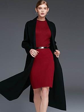 Damen Solide Einfach Lässig/Alltäglich Mantel,Winter Hemdkragen Langarm Rot / Schwarz / Braun / Grün Wolle