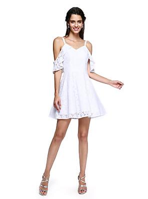 TS Couture® Koktejlový večírek Šaty - Mini já A-Linie Špagetová ramínka Krátký / Mini Bavlna s Volánky