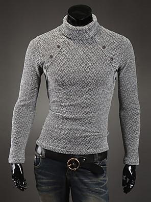Heren Casual/Dagelijks Eenvoudig Normaal Pullover Effen-Wit / Zwart / Grijs Ronde hals Lange mouw Polyester Winter Medium Rekbaar