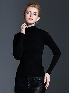Dames Casual/Dagelijks Eenvoudig Normaal Pullover Effen-Meerkleurig Strakke ronde hals Lange mouw Kasjmier / Rayon Herfst / Winter Medium