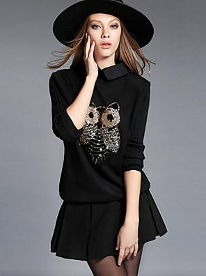 Damen Standard Pullover-Lässig/Alltäglich / Übergröße Einfach Stickerei Rot / Schwarz Hemdkragen Langarm Kunstseide / PolyesterHerbst /