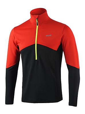 ריצה צמרות לגברים שרוול ארוך שמור על חום הגוף / רצועות מחזירי אור / נמתח לארבעה כיוונים / תומך זיעה / רך ספנדקס / פוליאסטרכושר גופני /