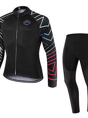 ספורטיבי חולצה וטייץ לרכיבה יוניסקס שרוול ארוך אופנייםנושם / שמור על חום הגוף / ייבוש מהיר / עמיד לאבק / לביש / דחיסה / 3D לוח / כיס
