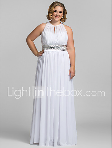 3c0e6df21d1b Plus Size Sheath / Column Halter Neck Floor Length Chiffon Celebrity Style  / Keyhole Prom /