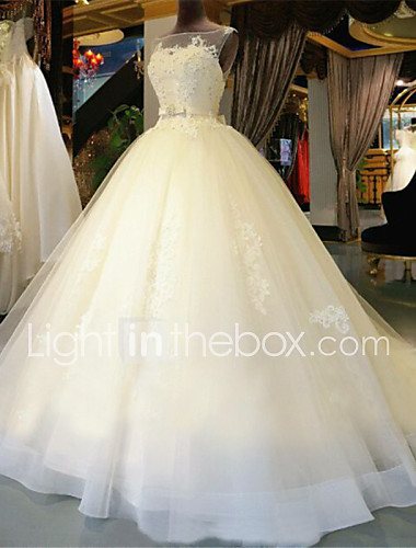 c68d39b12fc Ball Gown Scoop Neck Chapel Train Lace Over Tulle Made-To-Measure Wedding  Dresses