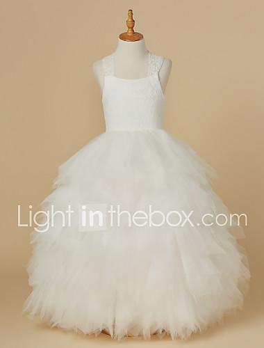 768b7ca75eb Βραδινή τουαλέτα Μέχρι τον αστράγαλο Φόρεμα για Κοριτσάκι Λουλουδιών -  Δαντέλα / Τούλι Αμάνικο Λουριά με