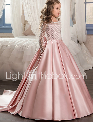 bc058faa1af3 Βραδινή τουαλέτα   Πριγκίπισσα Ουρά Φόρεμα για Κοριτσάκι Λουλουδιών -  Πολυεστέρας Μακρυμάνικο Με Κόσμημα με Δαντέλα