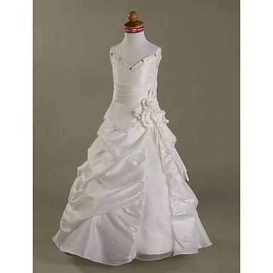 LAN TING BRIDE A-line Princess Floor-length Flower Girl Dress - Organza Taffeta Spaghetti Straps withBeading Crystal Detailing Draping