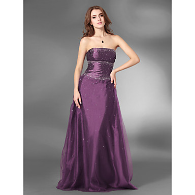 TS Couture Prom Formal Evening Military Ball Dress - Open Back A-line Princess Strapless Floor-length Satin Tulle with Beading