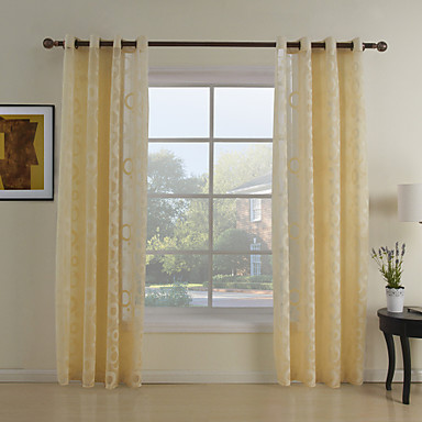 Two Panels Country Polka Dots Yellow Bedroom Polyester Sheer Curtains Shades 367328 2016