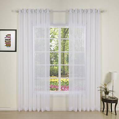 Two Panels Modern Solid White Bedroom Polyester Sheer Curtains Shades ...