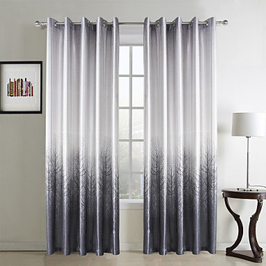 (One Panel Grommet Top) Modern Grey Forest Print Polyester Energy Saving Curtain