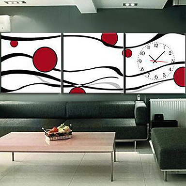 """12""""-24"""" Modern Style Abstract Wall Clock in Canvas 3pcs"""