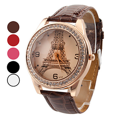 Women's Watch Luxury Diamond Eiffel Tower PU Band Cool Watches Unique Watches Fashion Watch