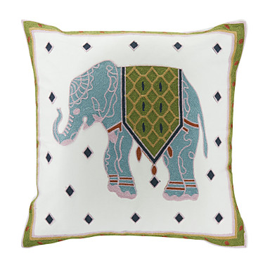 Buy Embroidered Elephant Cotton Decorative Pillow Cover