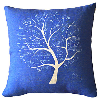 Classic Blue Tree Cotton/Linen Decorative Pillow Cover 524836 2017 ? $10.49