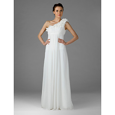 Lanting Bride® Floor-length Chiffon Bridesmaid Dress - Sheath / Column One Shoulder Plus Size / Petite with Draping / Ruffles