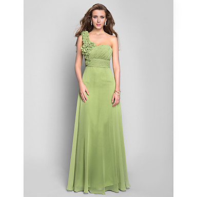 TS Couture® Prom / Formal Evening / Military Ball Dress - Floral Plus Size / Petite A-line One Shoulder Floor-length Chiffon withCrystal Detailing