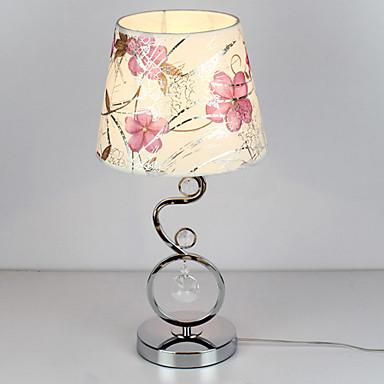 Lámpara de mesa moderna con pantalla de tela de cristal elegante ...