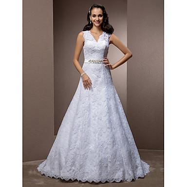 Lanting Bride® A-line / Princess Petite / Plus Sizes Wedding Dress - Classic & Timeless / Elegant & Luxurious Vintage Inspired Court Train