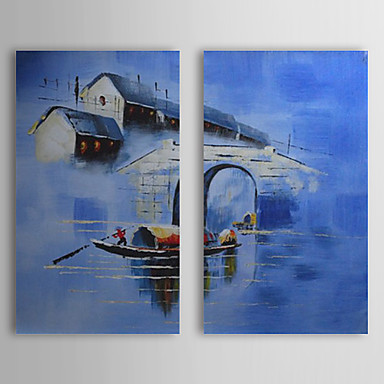Hand Painted Oil Painting Landscape Blue Water Village with Stretched Frame S...