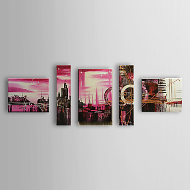 Hand Painted Oil Painting Landscape City with Stretched Frame Set of 5 1308-L...
