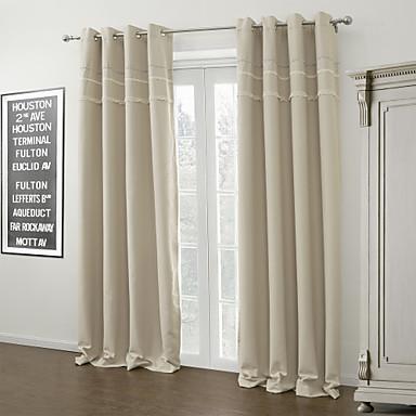 Moderne due pannelli in avorio solido tende oscuranti soggiorno ...