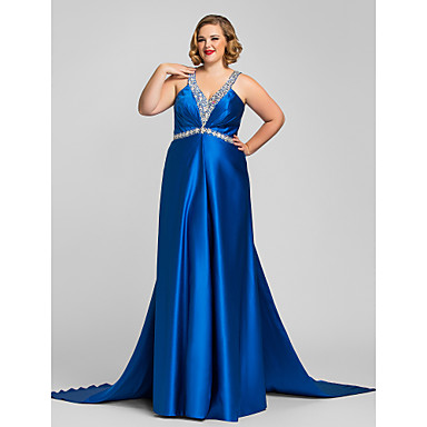TS Couture Formal Evening Military Ball Dress - Open Back A-line Halter V-neck Floor-length Satin withBeading Crystal Detailing Side
