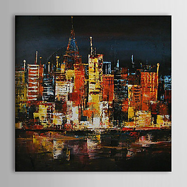 Hand Painted Oil Painting Landscape Downtown with Stretched Frame 1309-LS1018