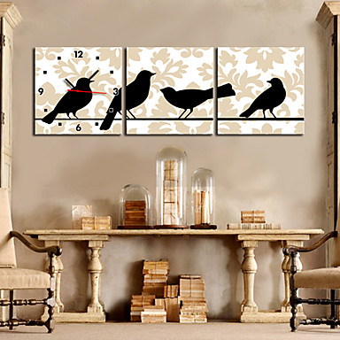 """12""""-24""""Country Style Black Bird Wall Clock In Canvas 3pcs"""