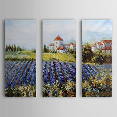 Hand Painted Oil Painting Landscape House by Field with Stretched Frame Set o...