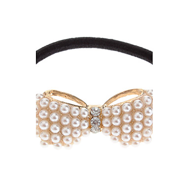 (1pc) Sweet Golden Imitation Pearl Hair Tie For Girls
