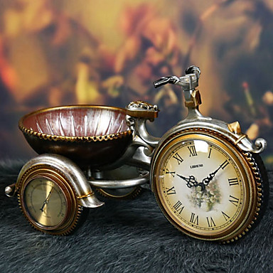 """10""""Retro Type Tricycle Style Polyresin Tabletop Clock"""