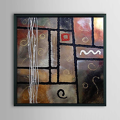 Abstract Geometric Cubes Framed Oil Painting