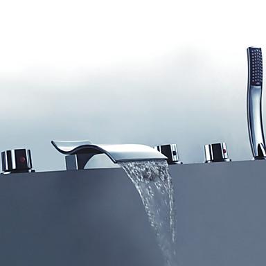 Modern bad en douche inclusief handdouche with keramische ventiel drie handgrepen vijf gaten for - Moderne badkraan ...