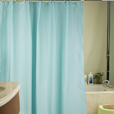 Shower Curtain Polyester Solid Light Blue Water Resistant Thick Fabric 2 Sizes Available 889137