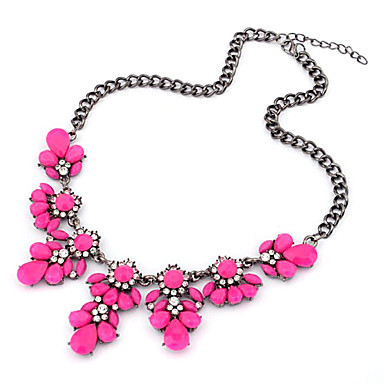(1 Pc)Classic (Flower Pendant) Black Alloy Choker Necklace(Blue,Yellow And More)