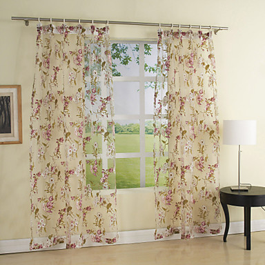 Land två paneler blommig botanisk flerfärgade sovrum polyester ren ...