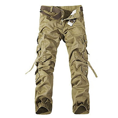 Men's Black/Brown/Gray Multi-Pocket Overalls Washed Pants