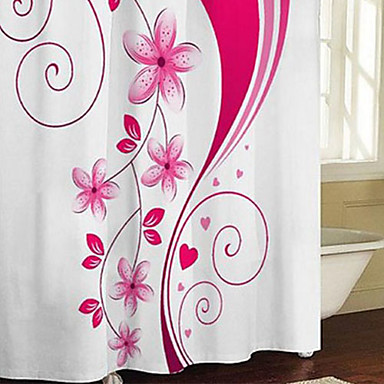rideau de douche rose floral moderne imprimer pais tissu r sistant l 39 eau w71 x l71 de. Black Bedroom Furniture Sets. Home Design Ideas