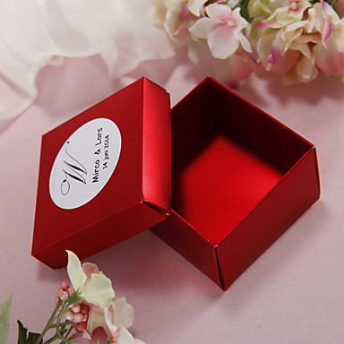 Personalized Pearl Paper Wedding Favor Boxes Set Of 12 More Colors 104927