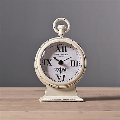 "11.75""H Retro Style Engraving Metal Tabletop Clock"